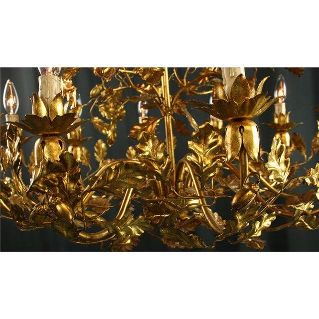 Metal Italian Golden Metal Chandelier For Sale - Image 7 of 8