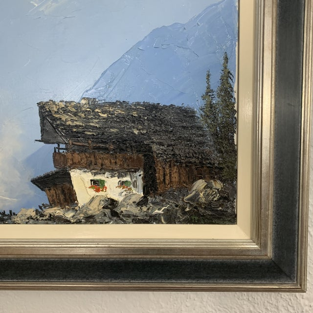 Vintage Swiss Alps and Cabin Large Framed Painting For Sale - Image 4 of 13