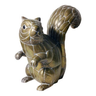 Large Signed Sergio Bustamante Brass Squirrel Sculpture, 1970's For Sale