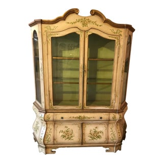 French Style 2 Piece Illuminated Display Cabinet For Sale