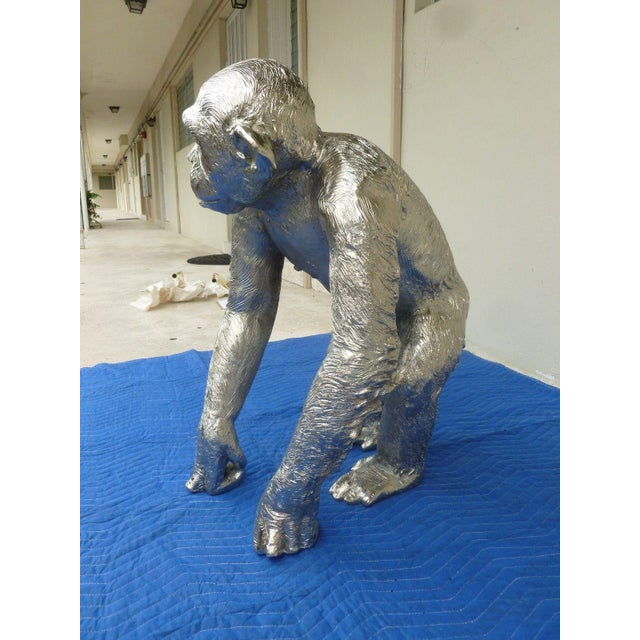 1970s Modern Life Size Nickel Plated Bronze Chimpanzee Statue For Sale - Image 11 of 13