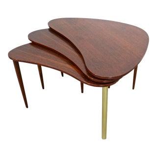 Set of 3 Mid-Century Danish Modern Teak Boomerang Jackknife Coffee/Nest Tables For Sale