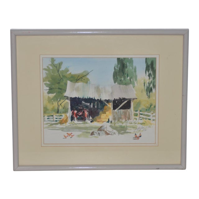 """Jake Lee (1915-1991) Original Watercolor """"Tractor in the Barn"""" C.1990 For Sale"""
