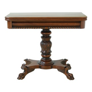 American Empire Duncan Phyfe Carved Mahogany Game Table For Sale