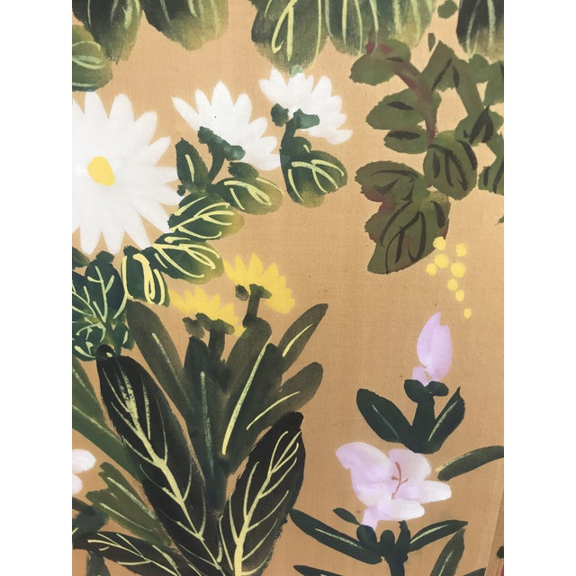 Chinese Hand Painted Floral Screen or Mural For Sale - Image 9 of 12