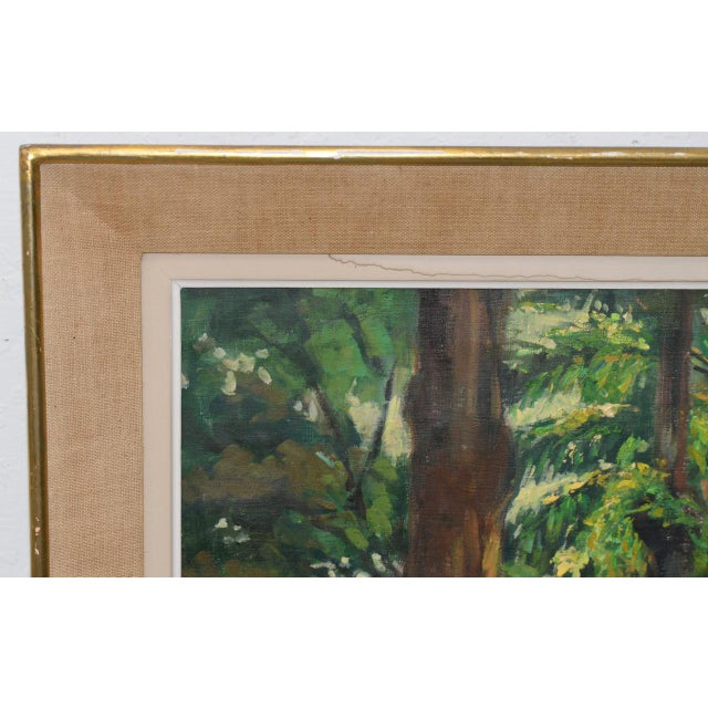 Mid Modern Palm Forest Impressionist Oil Painting C.1950s For Sale - Image 4 of 8
