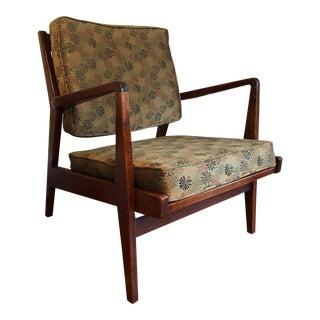 1950s Mid-Century Modern Jens Risom Walnut Arm Chair For Sale