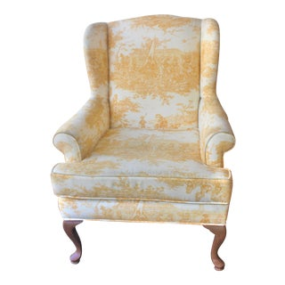Yellow Chinoise and Queen Anne Legs Wingback Chair For Sale