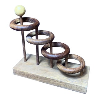 Vintage Mid-Century Danish Wood Ring Sculpture For Sale