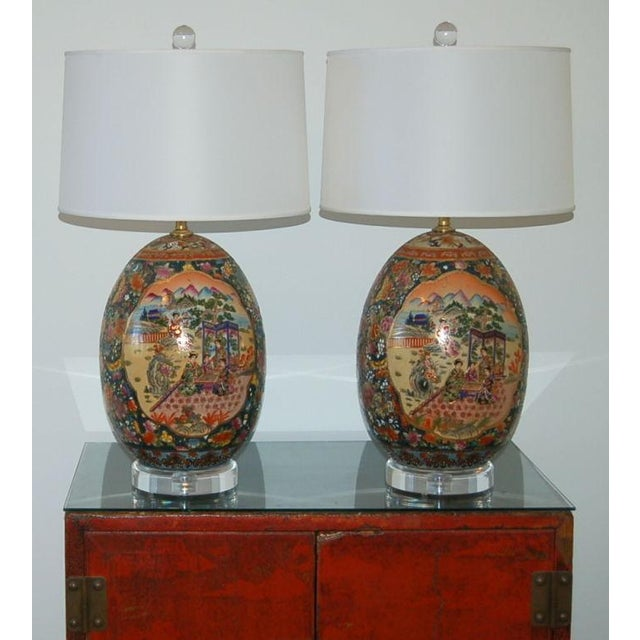 Metal Vintage Satsuma Table Lamps For Sale - Image 7 of 9