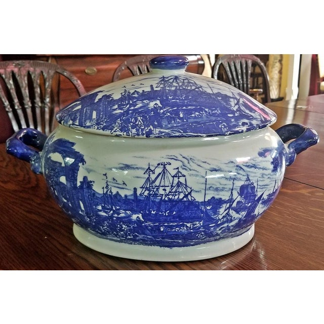 Pair of 19c Staffordshire Ironstone Lidded Tureens of Shipping Scenes For Sale - Image 9 of 13