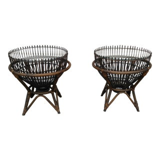 Vintage Franco Albini Fish Trap Basket Tables - a Pair