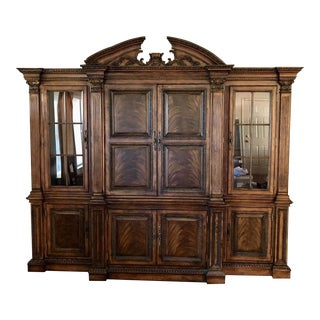 3 Piece Rich Hardwood Entertainment Center and Display Cases For Sale