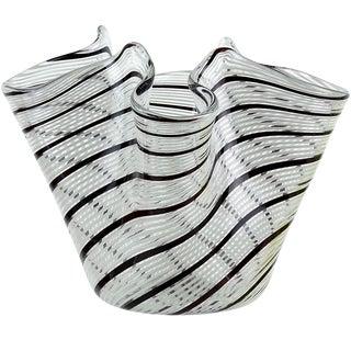 Dino Martens Murano Vintage Black White Italian Art Glass Mid Century Fazzoletto Vase For Sale