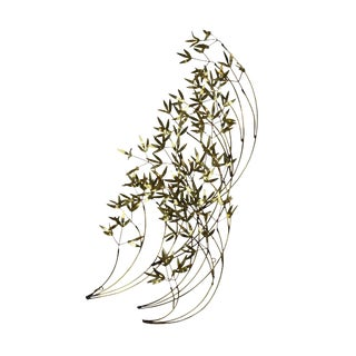 Curtis Jere Mid Century Modern Brass Bamboo Leaves Wall Sculpture For Sale