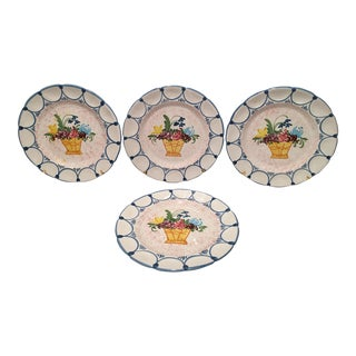 1990s Hand Painted Italian Plates - Set of 4 For Sale