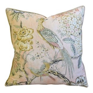 """Blush Pink Ann French Thibaut Floral & Pheasant Linen Feather/Down Pillow 24"""" Square For Sale"""
