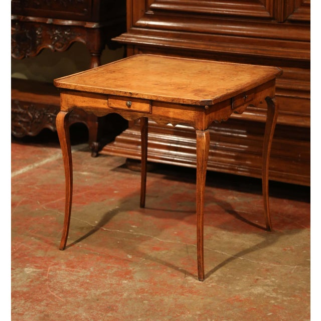 19th Century French Four-Drawer and Glass Holder Game Table With Leather Top For Sale - Image 10 of 10