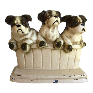 Vintage Bulldog Puppies in Basket Cast Iron Door Stop For Sale