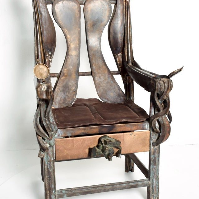 Brutalist Sculptural Bronze Arm Chair Signed Zavala, Game of Thrones Era For Sale - Image 9 of 11