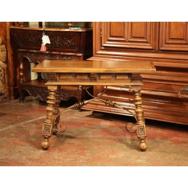Early 20th Century Spanish Carved Walnut Writing Table With Iron Stretcher For Sale - Image 11 of 12