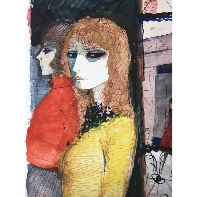 Parisian Women Charles Levier Watercolor Painting - Image 3 of 5