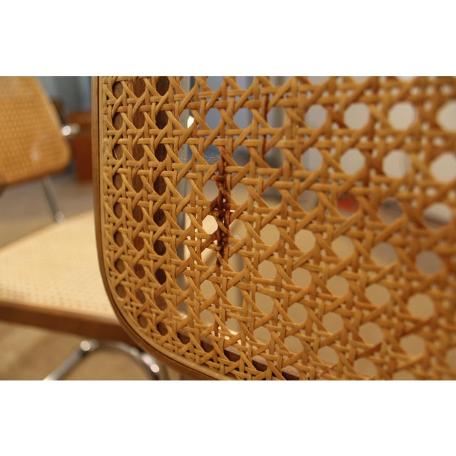 Mid-Century Danish Modern Marcel Breuer Style Caned Dining Chairs - Set of 6 - Image 6 of 10