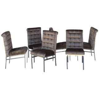 Set of 6 Tufted Pierre Cardin Dining Chairs in New Mink Color Velvet For Sale