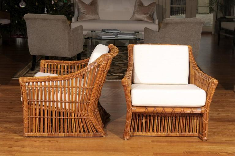 Magnificent Pair Of Restored Vintage Rattan Club Chairs By McGuire For Sale  In Atlanta   Image