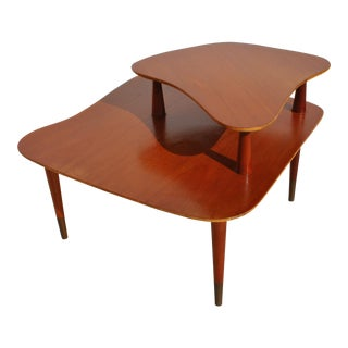 1960s Mid-Century Modern Thomasville Mahogany Two Tier End Table For Sale