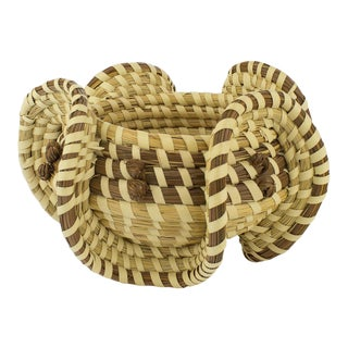 Vintage Spiral Wicker Bowl
