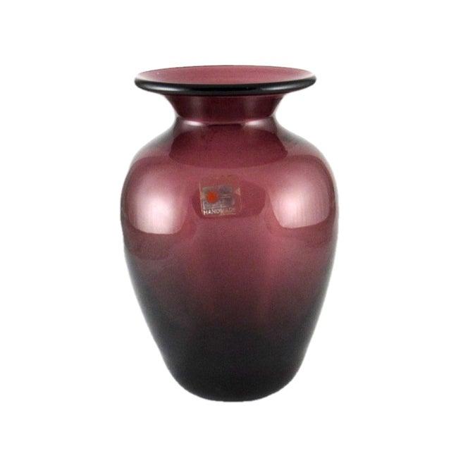 1980s Blenko Hand Blown Amethyst Glass Vase For Sale - Image 9 of 10