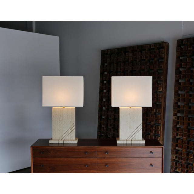 Modernist Travertine Lamps Circa 1980 - a Pair For Sale In Los Angeles - Image 6 of 13