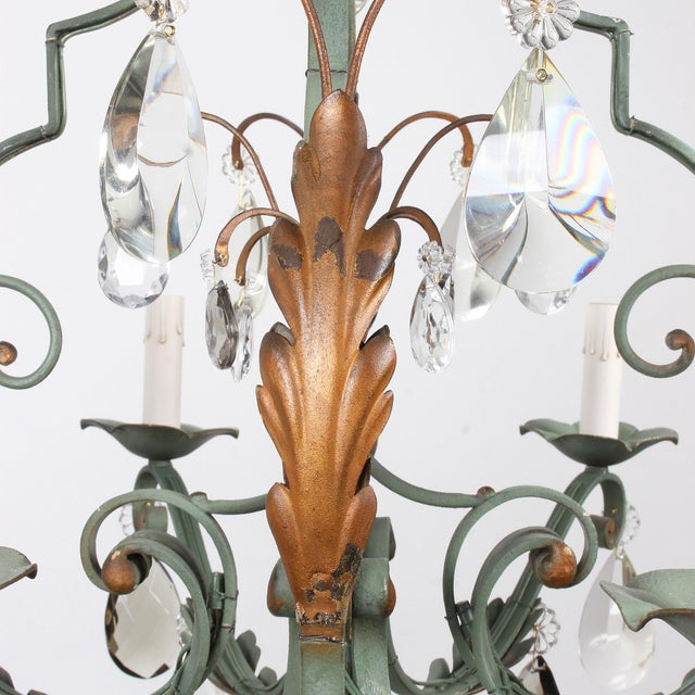 Vintage French 8-Light Painted Iron and Crystal Chandelier For Sale - Image 10 of 12