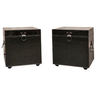Late 20th Century Contemporary Dark Chocolate Leather Storage Tables - a Pair For Sale