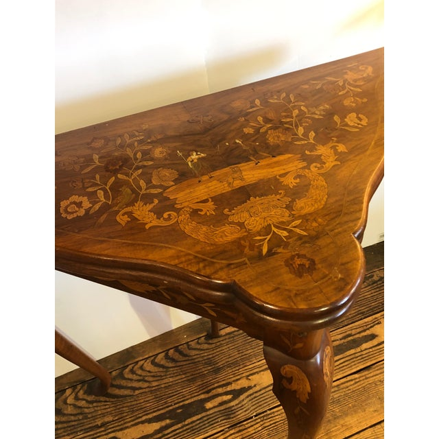 19th Century Traditional Triangular Mixed Wood Card Table For Sale - Image 4 of 12