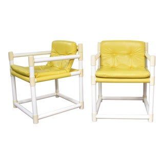Pair MCM Outdoor Pvc Side Chairs Yellow Vinyl Upholstery by Decorion Fun Furnishings For Sale