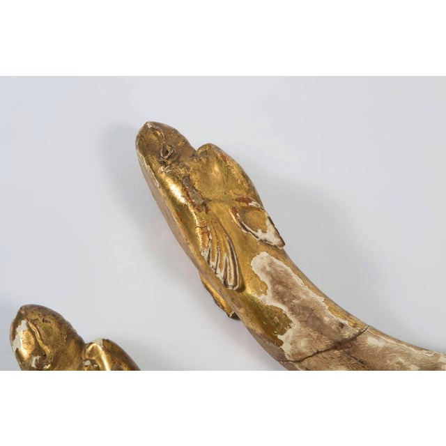 18th Century Gold Leaf Dolphin Shaped Ornaments - a Pair For Sale In Nashville - Image 6 of 11