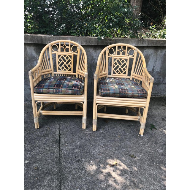 Wood Brighton Pavilion Style Bamboo armChairs- a Pair For Sale - Image 7 of 7