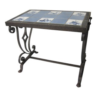 Vintage Arts & Crafts Tile Table For Sale
