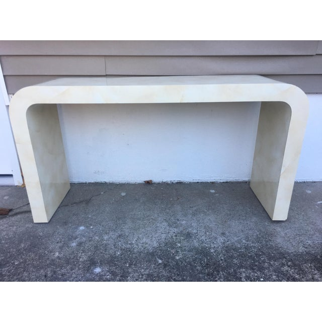1980s Contemporary Goat Skin Waterfall Console Table For Sale - Image 10 of 11