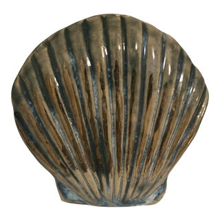 Anthropologie Blue Gold Clam Shell Ceramic Knob For Sale