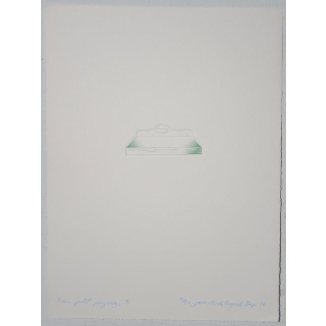 """White Jean-Claude Reynal (France, 1938-1988)""""Tres Petit Paysage 5"""" Relief Etching C.1976 For Sale - Image 8 of 8"""