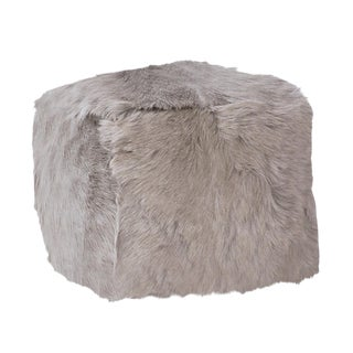 Grey Fur Square Pouf For Sale