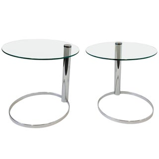 Pair of Chrome and Glass Side Tables by John Mascheroni for Swaim