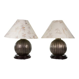 Steel Chinese Orb Table Lamps - A Pair