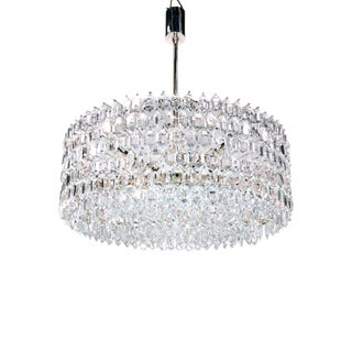 1950s Vienna Bakalowits & Sons Chandelier Crystal on Silver For Sale