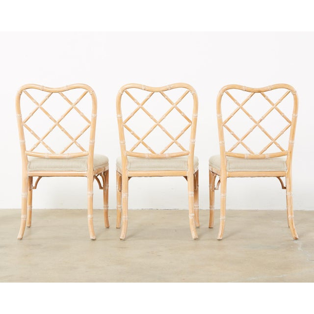 Faux Bamboo Chinese Chippendale Dining Chairs - Set of 3 For Sale - Image 12 of 13