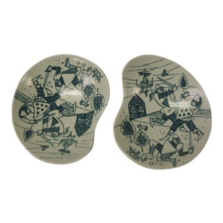 Vintage Small Fornasetti Style Candy/Peanut Porcelain Dishes For Sale