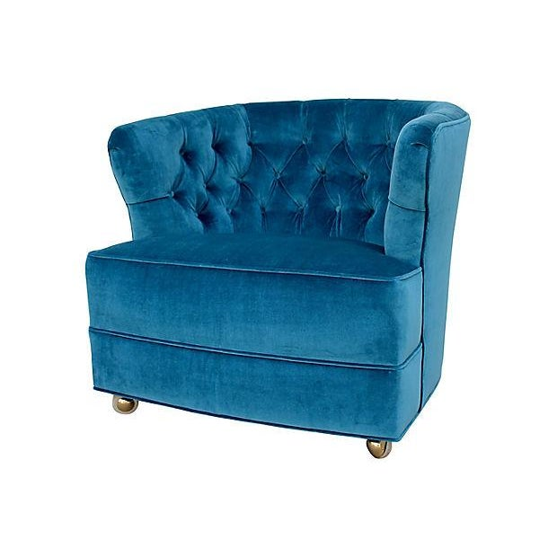 Metal Tufted Velvet Bucket Chair For Sale - Image 7 of 9